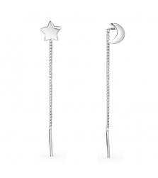 Серьги-протяжки «полумесяц и звезда»