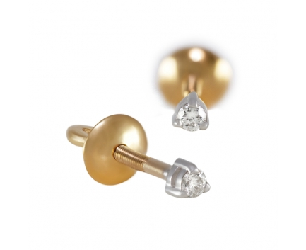 Серьги  из золота 585 пробы с бриллиантом 11-4-DD-E-002051