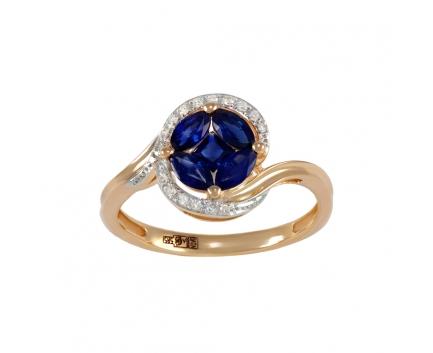 Кольцо  из золота 585 пробы с сапфиром 06-1-DS-R-000348
