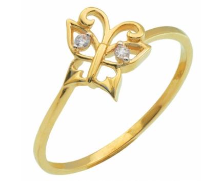 Кольцо «бабочка» из серебра 925 пробы с фианитом 23-9-ZZ-R-082712