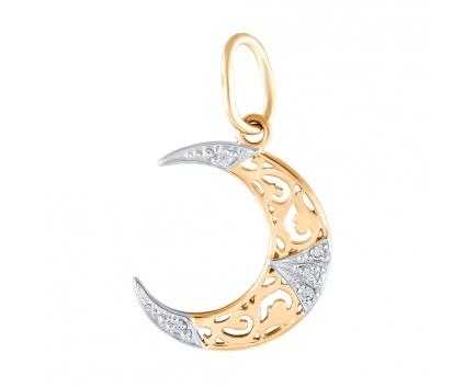 Мусульманская золотая  подвеска полумесяц с бриллиантами 23-4-DD-P-085838 Mister Diamond