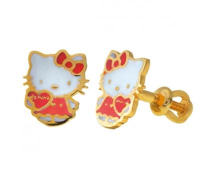 СЕРЬГИ «Hello Kitty»  ИЗ ЗОЛОТА 585 ПРОБЫ С ЭМАЛЬЮ 23-1-YY-E-083962