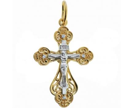 Золотая подвеска православный крестик с фианитами 23-4-ZZ-P-080105 Mister Diamond