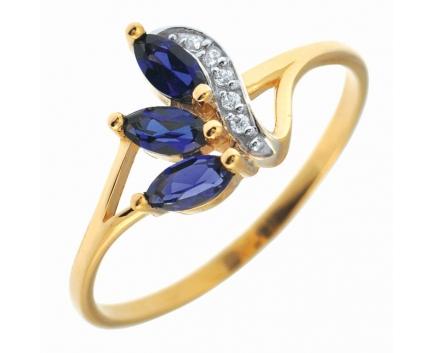 Серебряное кольцо с позолотой сапфиры фианиты 23-9-sz-r-082437