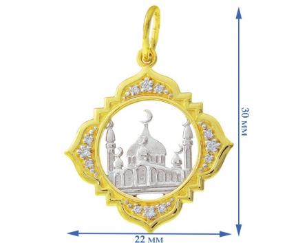 Подвеска  из золота 585 пробы с фианитом 23-6-ZZ-P-085956
