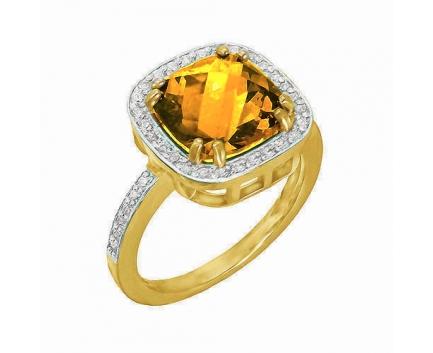 Кольцо  из серебра 925 пробы с цитрином 23-9-CZ-R-082146