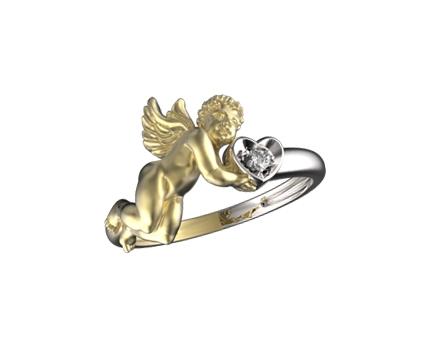 Кольцо «ангел» из серебра 925 пробы с  29-9-ZZ-R-010393