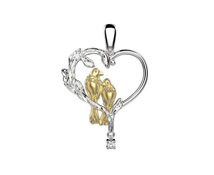 Подвеска «сердце с птицами» из серебра 925 пробы с фианитом