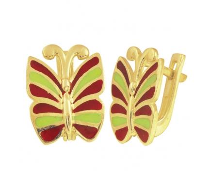 Серьги «бабочки» из серебра 925 пробы с  23-9-YY-E-083908