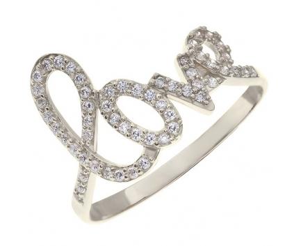 Кольцо «Love» из серебра  с фианитами  23-5-ZZ-R-821097