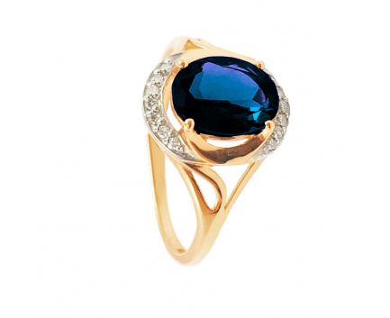 Кольцо  из золота 585 пробы с сапфиром 23-1-DS-R-821122