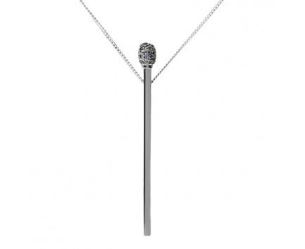 Колье «спичка» из серебра 925 пробы с фианитом 23-5-ZZ-N-871607B