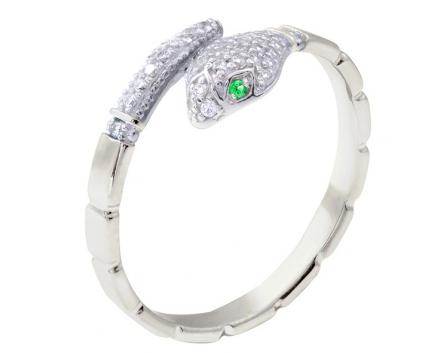 Кольцо «змейка» из серебра 925 пробы с кварцем 23-5-QZ-R-821587G