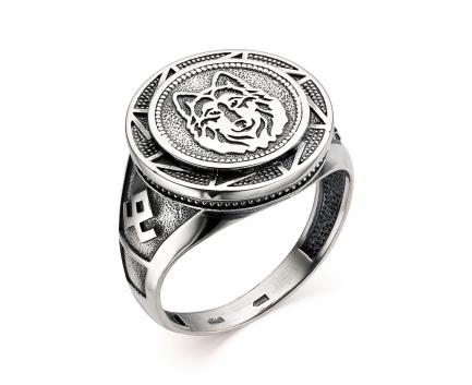 Печатка «волк» из серебра 925 пробы с  30-5-OO-R-962019