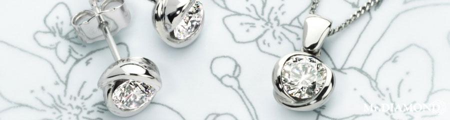 Серьги-пуссеты и подвеска из серебра от Mister Diamond